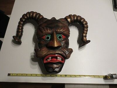 Vintage German wood hand carved The Maschkera Fasching wall face mask