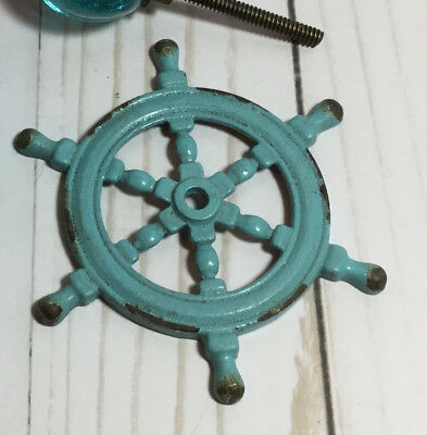 2)-Turquoise Ships Wheels Cast Iron Back Plate Cabinet Drawer Knob Pull