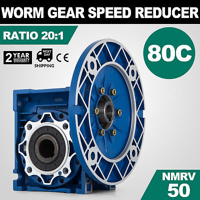 NMRV050 Worm Gear Ratio 20:1 80C Speed Reducer Gearbox Cast Aluminum HQ