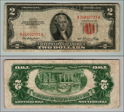 1953 $2 Dollar Bill Us Note Legal Tender Paper Money Currency Red Seal W799