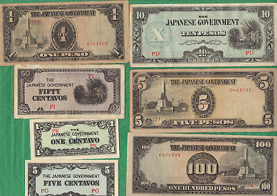 WW-II Philippines Lot of 7 Different Bills Japanese Invasion Money JIM