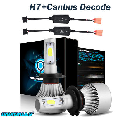 H7 LED Headlight Conversion Light Bulb 1500W 225000LM 6000K White+Canbus Adapter
