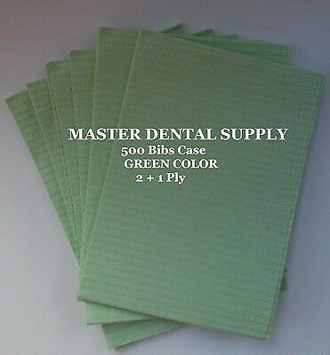 "500 Disposable Patient Bibs GREEN Dental Tattoo Medical Spa 2 + 1 Ply 13"" x 18"""