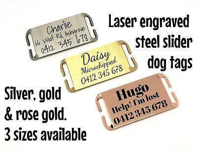 Dog tag silent slider steel laser engraved gold silver rose gold slider on pet