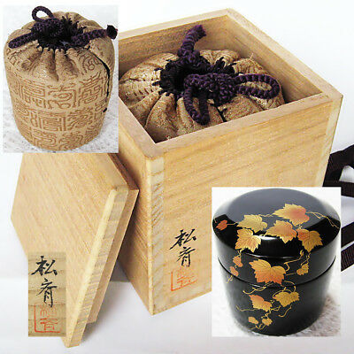 Japan lacquerware Wajima-nuri matcha tea caddy Fubuki Natsume Ivy Makie NT86