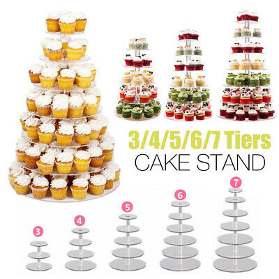 Acrylic Clear Round Cupcake Cake Stand Birthday Wedding Party 3/4/5/6/7/Tier
