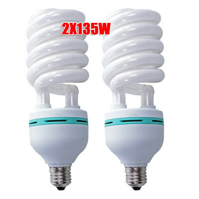 2x135W Daylight Lighting Bulbs Photography Energy Saving Lamp 5500K E27 UK Hot