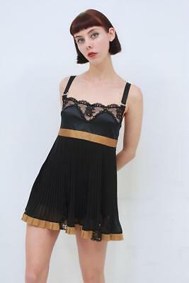 Pleasure State Couture, Luxury Black And Gold Swarovski Babydoll Slip - Size M