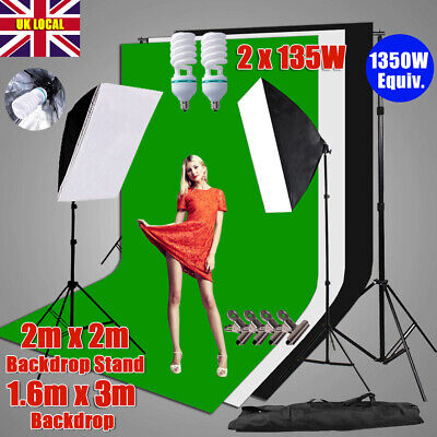 Black White Green Screen Backdrops Studio Softbox Lighting Stand Soft Box Kit UK