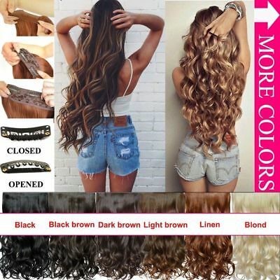3/4Full Head Clip In Hair Extend Long Curly Wavy Extensions Piece Heat Resistant
