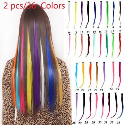 Girl Colored Clip in Hair Extensions Colorful Hair Highlight Single Clip-in Hair