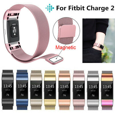 For Fitbit Charge 2 Strap Replacement Milanese Band Stainless Steel Magnet UK 1