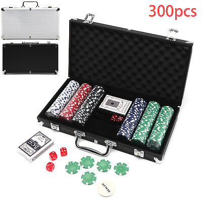 300pc Texas Hold'Em Poker Chip Sets Aluminium Case 2 Decks Playing Cards 5 Dice