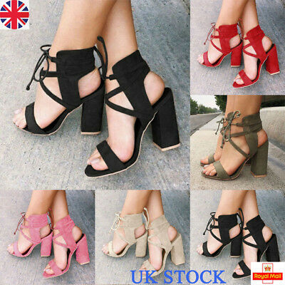 UK Womens Ladies Block High Heels Sandals Ankle Strap Open Toe Summer Shoes Size