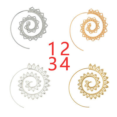 New 1 Pair Festival Jewellery Earrings Boho Spiral Brass Tribal Hoops Party Gift