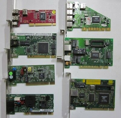 Lot of 7 Mixed Computer PCI Add-on Cards  USB2.0,Firewire,LAN,Internal Modem