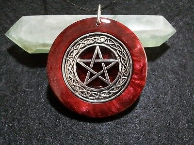 Pentacle Pendant,ruby red, spiritual,pagan,wiccan jewelry,witchcraft,protection