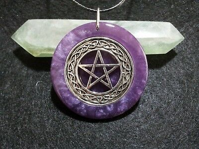 Pentacle Pendant, Violet, spiritual,pagan,wiccan jewelry,witchcraft,protection