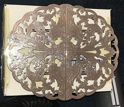ANTIQUE LUNT Silverplated Filigree Footed Trivet Hot Plate M-23 M23