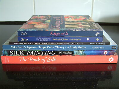 6 Japanese Craft Books - Silk, Embroidery, Art, Fashion, textiles, colour theory