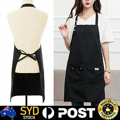 Denim Canvas Pocket Apron Adjustable Baking Chefs Kitchen Coffee Cooking BBQ MN