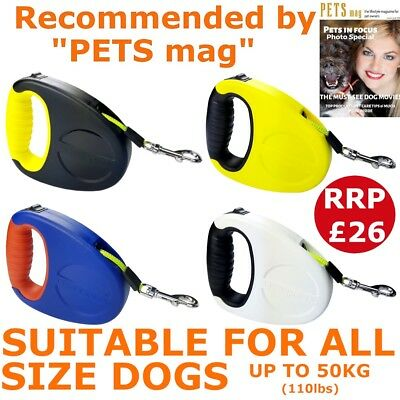 Retractable Dog Walk Lead Extending Leash Tape Small Medium Large Dog Up to 50kg