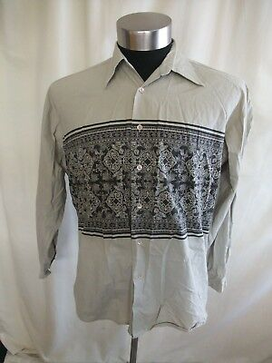 "Mens Shirt size L, light khaki cotton, contrast panel, pit to pit 24"", used 0277"