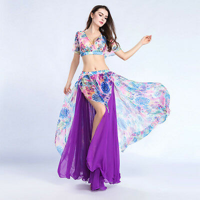 New Performance belly dance Costume 2PCS Blouse top Skirt Dress Carnival
