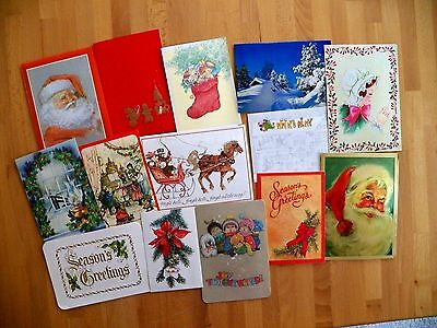 14 Used VINTAGE 1970's XMAS Cards Great for Projects & Upcycling or Collecting!!