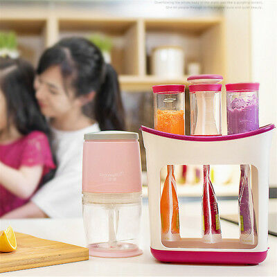 Baby Feeding Food Squeeze Station Toddler Infant Fruit Maker Dispenser Storage D