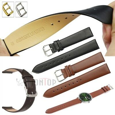 Genuine Leather Watch Wrist Band Strap Steel Silver/Gold Buckle 18mm 20mm 22mm
