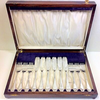 Edwardian Oak Cased Silver Plate Six Place Fish Service Viner & Hall Sheffield.