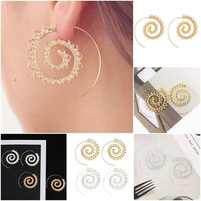Women's Jewellery Spiral Earrings Silver/Gold Plated Festival Indian Brass New