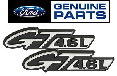 "1996-1998 Mustang OEM Genuine Ford ""GT 4.6L"" Chrome Fender Side Emblems - Pair"