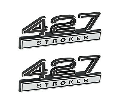"""408 High Performance 6.6L Engine Emblems Badges in Chrome /& Red 4/"""" Long Pair"""