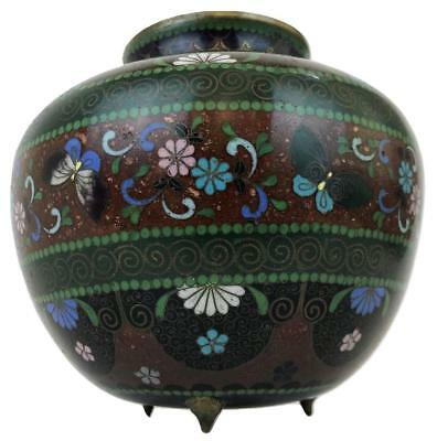 Antique 19thC Japanese Meiji Enamel Inlay Cloisonne Ginger Jar Vase Koro Censor