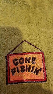 Embroidered personalised fishing  towel( gone fishing) add a name personalise