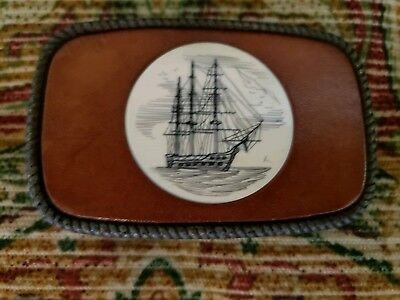 Belt Buckle, Leather and Scrimshaw Ship, Vintage