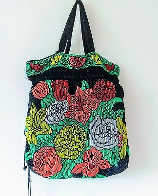 Vintage Beaded Purse Floral Design Very Colorful Made in Hong Kong