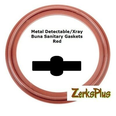 """Sanitary Gasket Tri Clamp Style 3"""" Metal Detect/Xray Red Buna Price for 1 pc"""