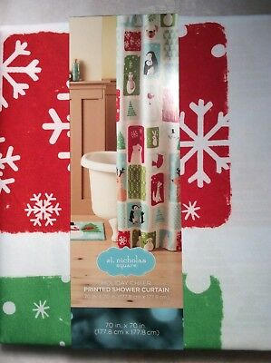 St. Nicholas Square Christmas Shower Curtain - Holiday Cheer - NIP -
