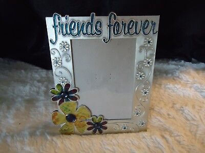 "Euc Metal Friends Forever Standing  Picture Frame Holds 5"" X 3 1/2"" Photo"