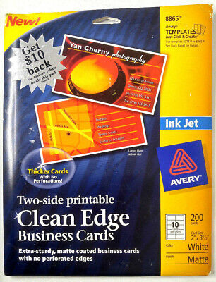 Avery 8865 Two-Side Printable Clean Edge Business Cards Inkjet, 2X31/2 White Mat