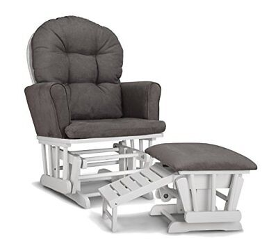 Graco Parker Semi-Upholstered Glider and Nursing Ottoman White Gray 06441-48`-DM