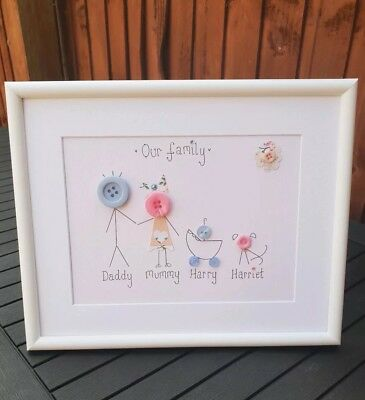 Button Family Frame Birthday Gift Button People Handmade