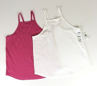 61c68026e00ad Old Navy Lot Of 2 Womens Tank Tops Size S Pink White Racerback Relaxed Fit  NWT