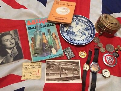 Curios Collectables Job Lot Bottle Postcard Russian Watch Badges Coins Delft Tin