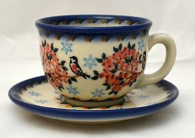 Polish Pottery Cup and Saucer  for tea or coffee Handmade in Poland 0,46pt, gift