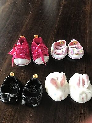 Various Build A Bear shoes PICK ONE PAIR, Black MJs, Bunny Slippers, Pink Spark