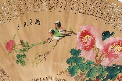 Vintage Asian China Traditional Decorative Wooden Wall Art Fan Signed